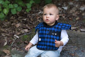 NZ Made Baby Bib / Blue Bushman