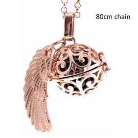 Necklace - Angel Caller Necklace / Ball with Angel Wing Rose Gold