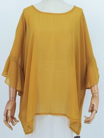 Summer Chiffon Top with Bell Sleeves - Mustard