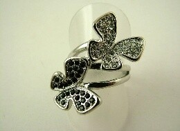 Ring - Black & Silver Butterfly