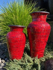 50cm Mosaic Vase with Mosaic inner / Red